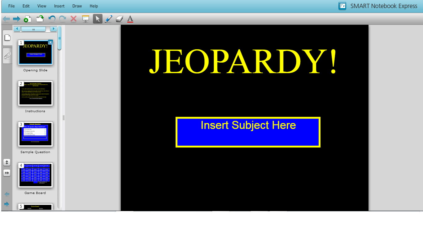 citunlv licensed for noncommercial use only SMARTBoardsF14 – Smartboard Jeopardy Template